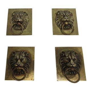 Vintage Cast Lion Head Brass Dresser Pulls - Set of 4