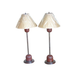 Vintage Japanese Pricket Stick Lamps - A Pair