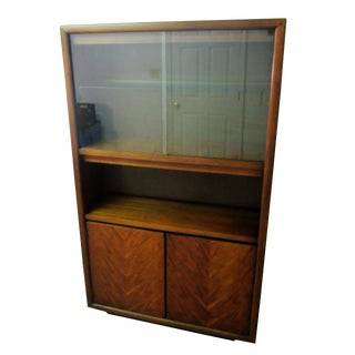 Mid-Century Danish Walnut & Glass Bookshelf Cabinet