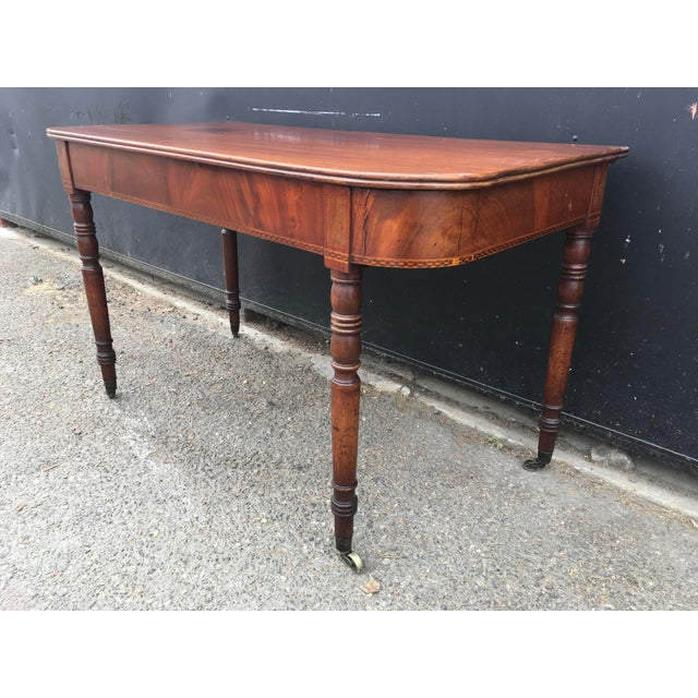 Antique English Walnut Writing Desk on Brass Casters - Image 7 of 11
