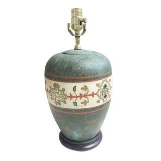 Turquoise Mosaic Hand Painted Design Porcelain Vase Lamp