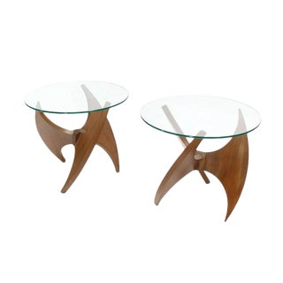 Walnut Propeller Base Glass Top Round End Side Tables