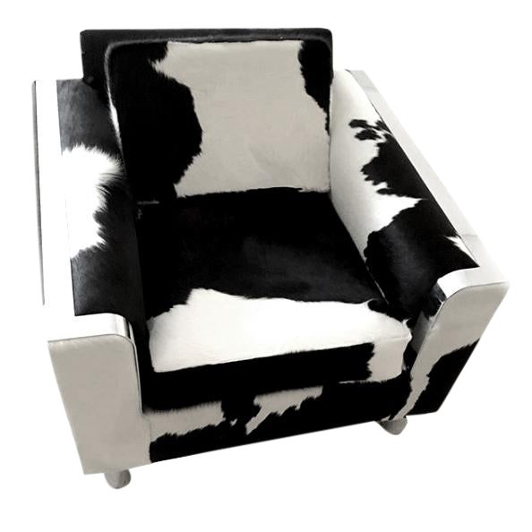 "Vintage Black/White Brazilian Cowhide Chair, ""Re-Visioned"" by FRG - Image 1 of 2"