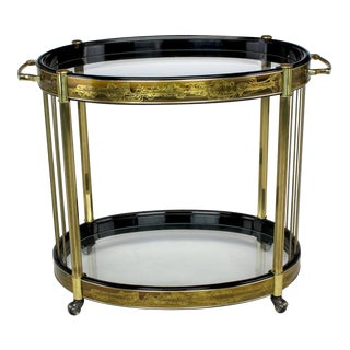 Bernhard Rohne Etched Brass Oval Bar Cart By Mastercraft