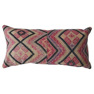 Vintage Handwoven Wedding Quilt Lumbar Pillow