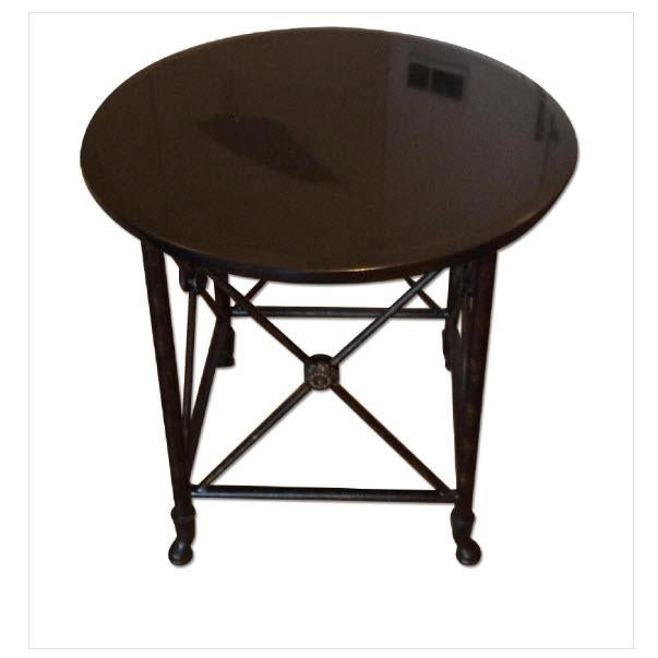 Black Granite Top Accent Table - Image 2 of 5