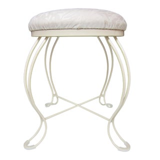 White Wrought Iron Vanity Stool