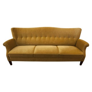 Golden Velour Three Seat Sofa