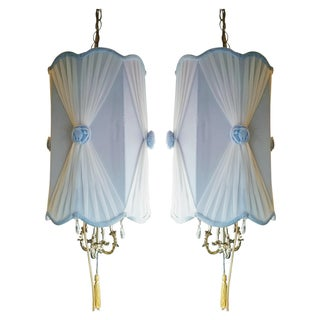 Hollywood Regency Light Blue Velvet Swag Lamps - a Pair