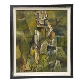 Midcentury Signed Cubist Oil Painting Custom Framed