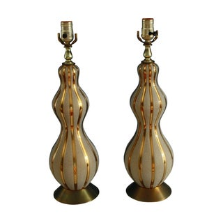 Mid-Century Gourd Lamps - A Pair