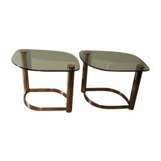 Mid Century Brass and Glass End Tables - Pair