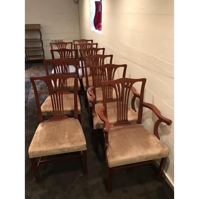 Image of Arthur Brett Mahogany Sunbury Park Dining Chairs - Set of 10