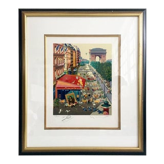 "1985 Hiro Yamagata Serigraph, ""Paris"" Hand Signed Le 703/1000"