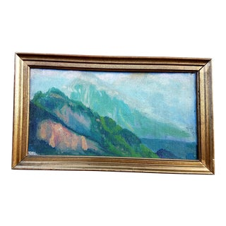 Antique Impressionist Tonalism Green Alps Mountain Landscape Painting