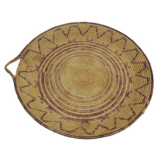 Round Tribal Basket with Handle