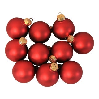 Satin Finish Red Glass Miniature Christmas Ornaments - Set of 10