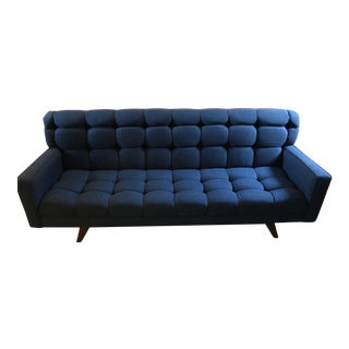 Mid-Century Tufted Blue Sofa