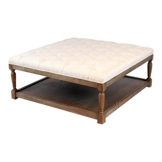 Spectra Home Traditional Tufted Linen Ottoman