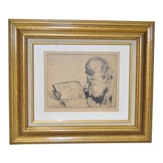 """Elias Grossman """"Quite Hour"""" Etching c.1934"""
