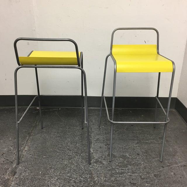 CB2 Yellow & Silver Bar Stools - A Pair - Image 5 of 8