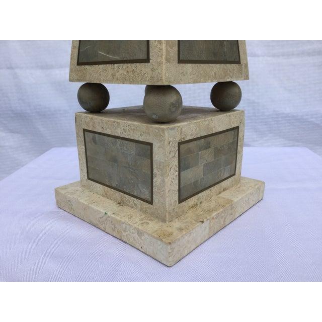 Maitland Smith Tessellated Stone Obelisk - Image 4 of 8