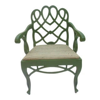 Frances Elkins Loop Chair in Original Green Lacquer and Fabric
