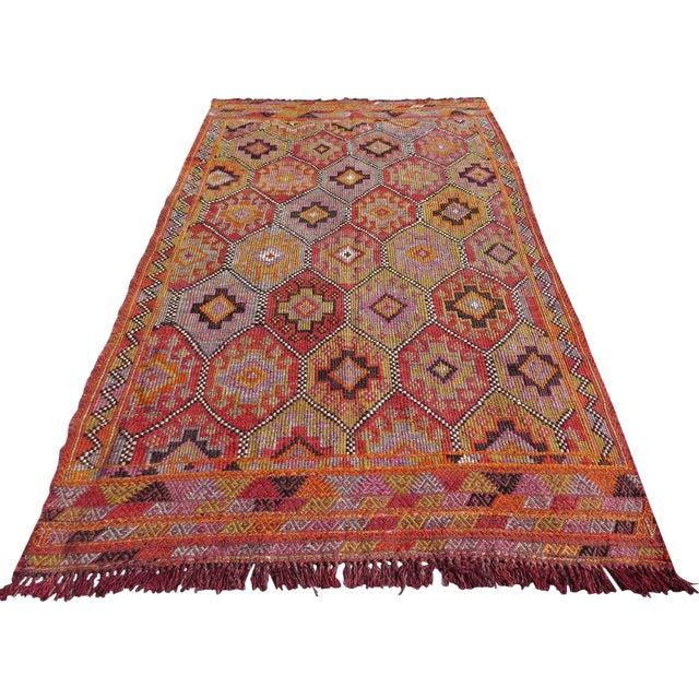 """Vintage Embroidered Turkish Kilim - 5'7"""" x 9'6"""" - Image 1 of 8"""