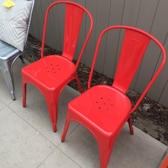 Red Tolix Style Metal Dining Chairs - A Pair - Image 4 of 4