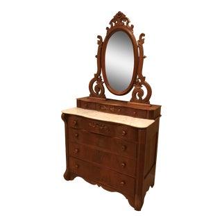 Antique Victorian Marble Top Dresser & Mirror