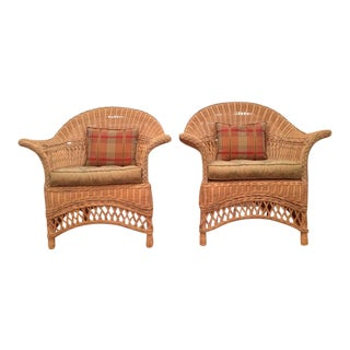 Vintage Painted Wicker Armchairs - A Pair
