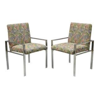 Harvey Probber Attr. Mid-Century Modern Aluminum Lounge Arm Chairs - a Pair