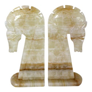 Mid-Century Marble Horse Bookends - A Pair