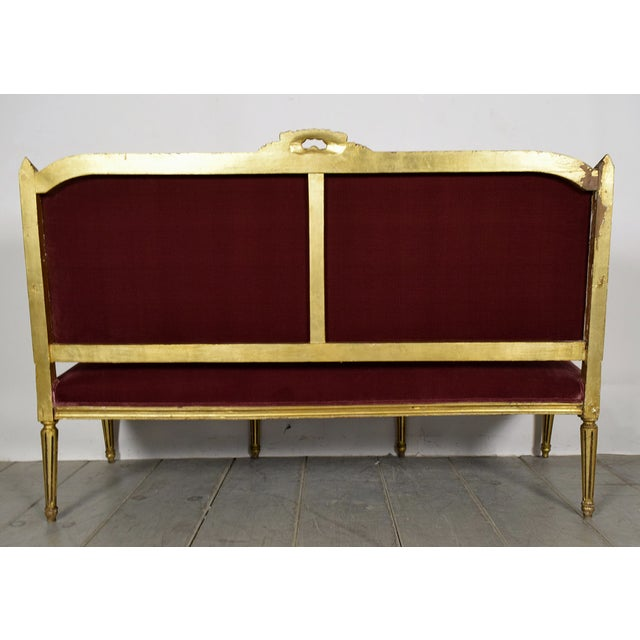 Vintage 1950s Louis XVI-Style Gilt Wood Sofa - Image 9 of 9