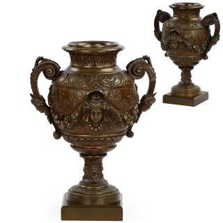 French Napoleon III Bronze Vases - A Pair