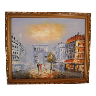 Framed Mid-Century Arc de Triumph Oil Painting