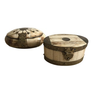 Bone and Brass Trinket Boxes - A Pair