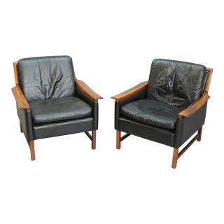 Torbjorn Afdal Black Leather Club Chairs - Pair