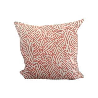 Coral and Orange Patterned Pillow