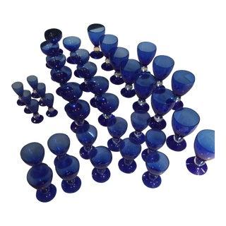 Vintage Cobalt Blue Glassware Set - Set of 39