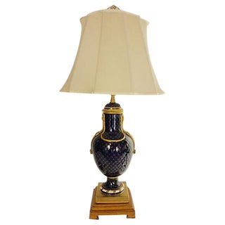 Neoclassical Style Ceramic and Wood Table Lamp