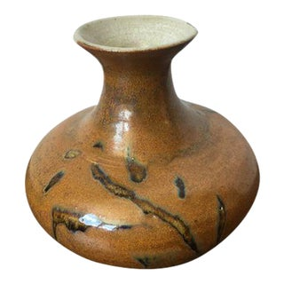 Tree Design Handmade Tan Clay Vase