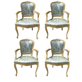 French Rococo Gilt Louis XV Arm Chairs - Set of 4