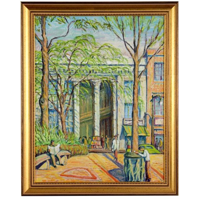 Main Street Oil Painting C. 1940 - Image 1 of 5