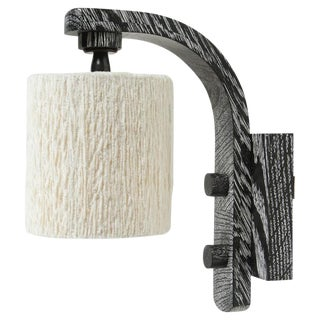 Paul Marra Oak Sconce with Cotton Chenille Shade