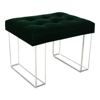 Infinity Style Green Velvet & Lucite Bench
