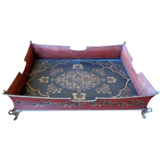 Red Metal Footed Tole Tray
