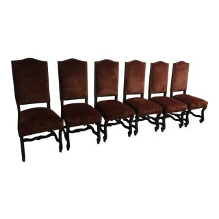Louis XIII Style High Back Velvet Upholstered Dining Chairs- Set of 6