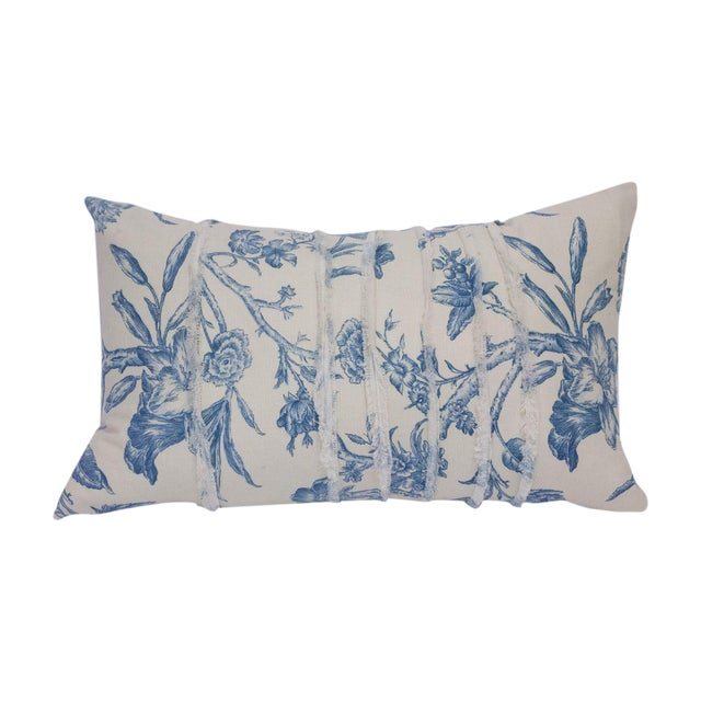 Deconstructed Cream & Blue Floral Pillow - Image 1 of 5