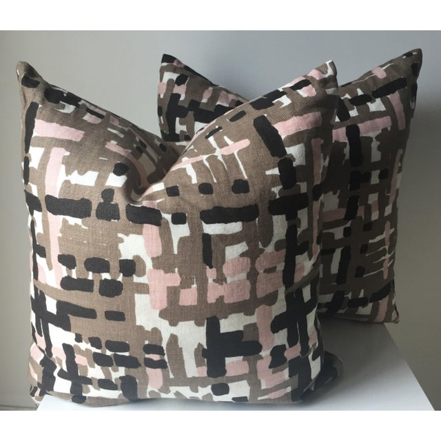 Abstract Linen Pillows - A Pair - Image 6 of 6
